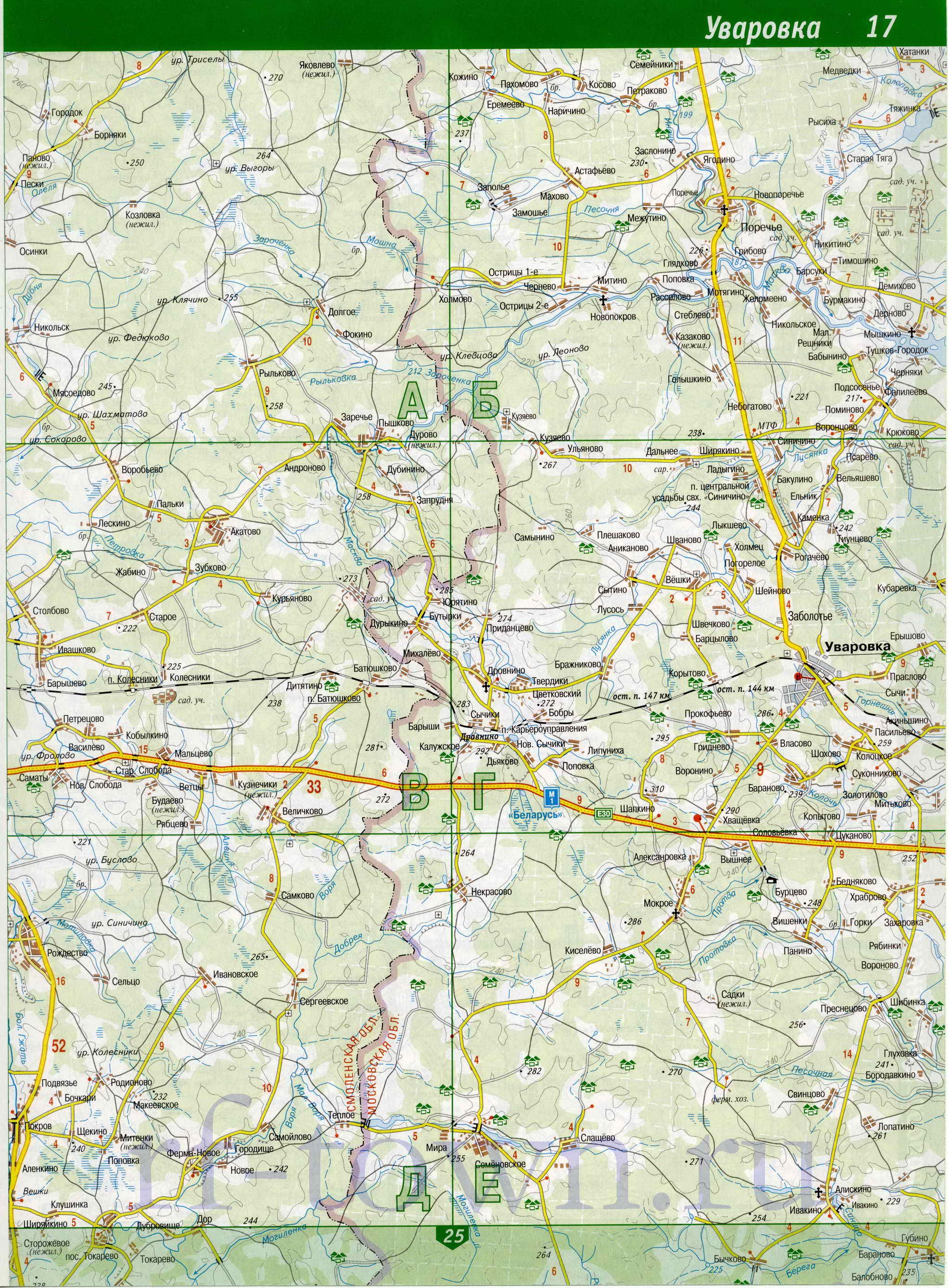 Карта Духовщинского Района Смоленской Области